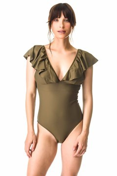 Picture of Oporto - ruffle v neck one piece