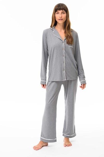 Picture of Donatella - Pijama Camisero Largo Gris