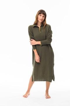 Imagen de Gardenia - Vestido Camisero de Punto Verde